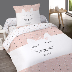 Housse de couette CUTTY CAT chat  140 x 200 + 1 Taie  100%  Coton