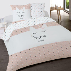 Housse de couette CUTTY CAT Chat 200 x 200 +2 Taies Coton 100%