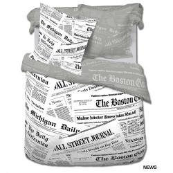 Housse de couette NEWS Journal 240 x 220 +2 Taies  Coton