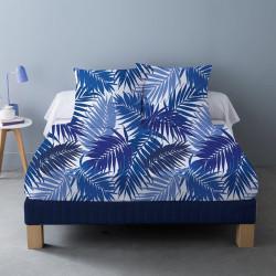 Parure de draps BIBAS BLEU  pour lit de 160 x 200 cm  4 PIECES