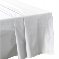 DRAP PLAT 270 x 300 BLANC Véritable Percale de coton 80 fils
