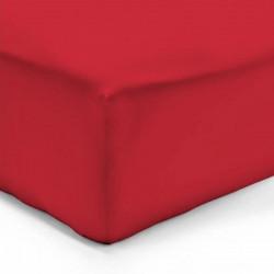 DRAP HOUSSE 140 x 190 cm ROUGE  VERITABLE PERCALE DE COTON Bonnet de 40 cm