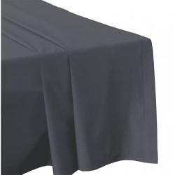 DRAP PLAT 270 x 300 GRIS ANTHRACITE Véritable Percale de coton 80 fils