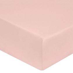 DRAP HOUSSE 140 x 190 cm ROSE POUDRE VERITABLE PERCALE DE COTON Bonnet de 30 cm