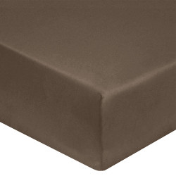 DRAP HOUSSE 160 x 200  VISON chocolat VERITABLE PERCALE DE COTON bonnet 40 cm