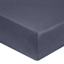 DRAP HOUSSE 160 x 200 GRIS ANTHRACITE VERITABLE PERCALE DE COTON maxi bonnet 40 cm