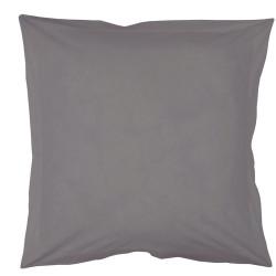 Taie d oreiller à volants  65x65 cm GRIS PERLE-FUSAIN Coton Passion d'Elly en déstockage.