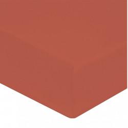 DRAP HOUSSE 160 x 200 ARGILE Tuile VERITABLE PERCALE DE COTON maxi bonnet 40 cm