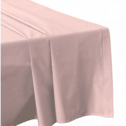 DRAP PLAT 270 x 300 ROSE POUDRE Véritable Percale de coton 80 fils