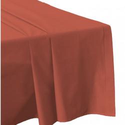 DRAP PLAT 270 x 300 ARGILE Tuile Véritable Percale de coton 80 fils