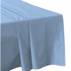 DRAP PLAT 240 x 300 BLEU CIEL Véritable Percale coton 80 fils