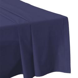 DRAP PLAT 240 x 300 BLEU MARINE  Véritable Percale coton 80 fils