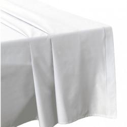 DRAP PLAT 240 x 300 BLANC Véritable Percale coton 80 fils