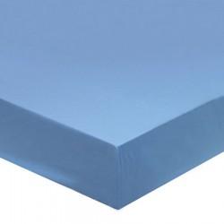 DRAP HOUSSE 180 x 200 Bleu GLACIER bonnet 27 cm Blanc Des Vosges