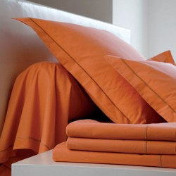 DRAP HOUSSE 180 x 200 4 TETES ORANGE bonnet de 27 cm