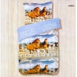 Housse de couette 140 x 200 +1 Taie SAIDA Chevaux cheval Coton