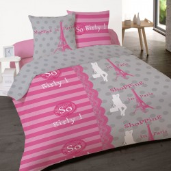 Housse de couette  SO GIRLY Paris 1 Place 140 x 200 +1 Taie Coton