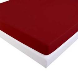 Drap Housse 160 x 200 cm Flanelle Rouge BORDEAUX